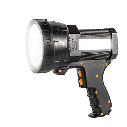 Super Bright Handheld Flashlight Rainproof Rechargeable Marine Spotlight with 6000 Lumen LED, 9600mAh Long Lasting Portable Searchlight Flood Light 3 Light Modes Side Tactical Torch with USB Output