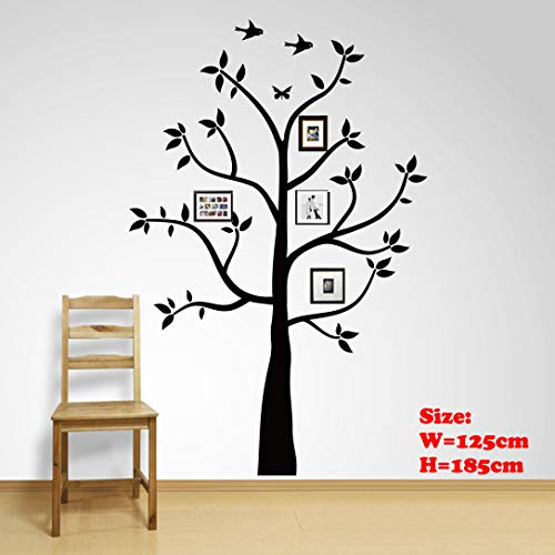 Family Tree Wall Decals Wall Sticker Removable Vinyl Mural Art Wall Stickers Kids Room Nursery Bedroom Living Room Decoration (185cmTall) (185X125cm)