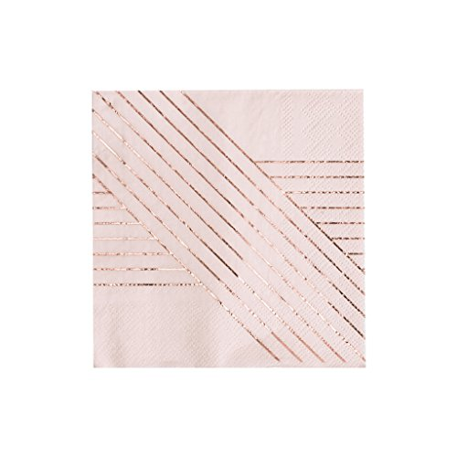 (Pale Pink w Rose Gold Striped Cocktail Paper Napkins - Birthday, Wedding, Showers Party Napkins - Harlow & Grey Amethyst (20)