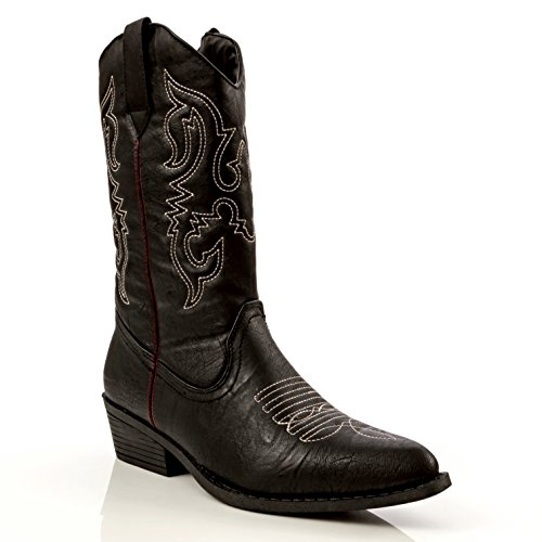 Charles Albert Women's Western Embroidered Cowboy Boot in Black Size: 8