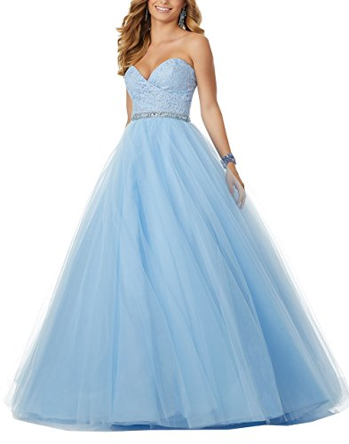Nicefashion Women's Elegant Lace Sweet 16 Ball Gown Quinceanera Dress With Beaded Waist Blue Plus Size US18W (Sweetheart Gown Ball Neckline)