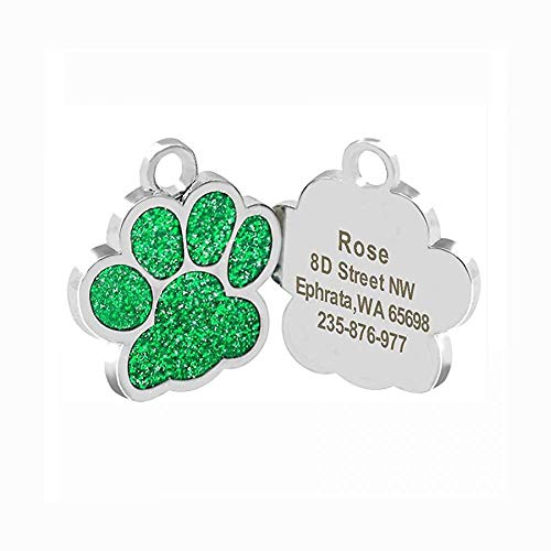 Cutepaw Stainless Pet Tags Personalized Pet ID Tags for Cats Puppy Dogs Engraved Glitter Paw Customized Kitten ID Tag ()