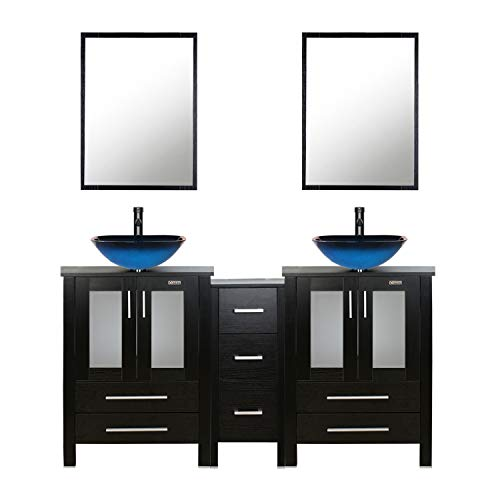 - eclife 60'' Bathroom Vanity Sink Combo Black W/Side Cabinet Vanity Ocean Blue Square Tempered Glass Vessel Sink & 1.5 GPM Water Save Faucet & Solid Brass Pop Up Drain,W/Mirror (A04 2B02)
