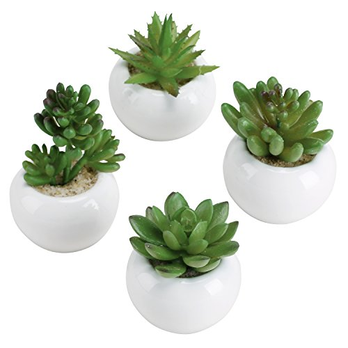 3-inch Mixed Green Artificial Succulent Plants in Round Glazed White Ceramic Pots, Set of 4