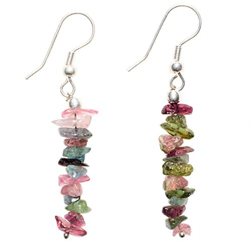 Charged Rainbow Tourmaline Crystal Chip Designer Earrings (Blue Tourmaline, Clear Tourmaline, Pink-Red-Purple Watermelon Tourmaline, Green Tourmaline, Yellow Tourmaline)) Reiki by ZENERGY ()