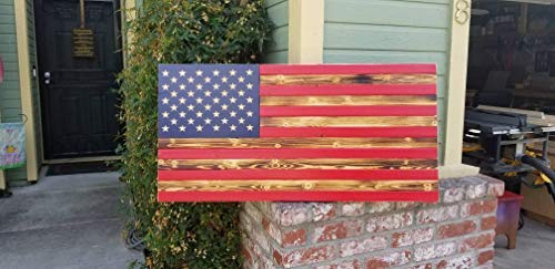 (weewen American USA Wood Flag Red White Blue Hand Printed Stars Patriotic Rustic Wooden Fourth of July Gift Housewarming Distressed Burned Cabin Wall Decor Plaques Sign Home Sign)