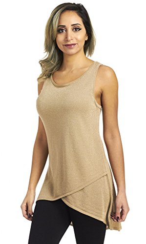 s Sleeveless Hi-Low Metallic Sweater Knit Tank Top, Tan, Large (Metallic Knit Top)