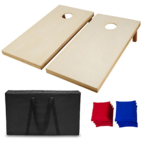 AceLife Solid Wood Premium Cornhole Set with 8 Bean Bags, Regulation Size(4ft x 2ft)