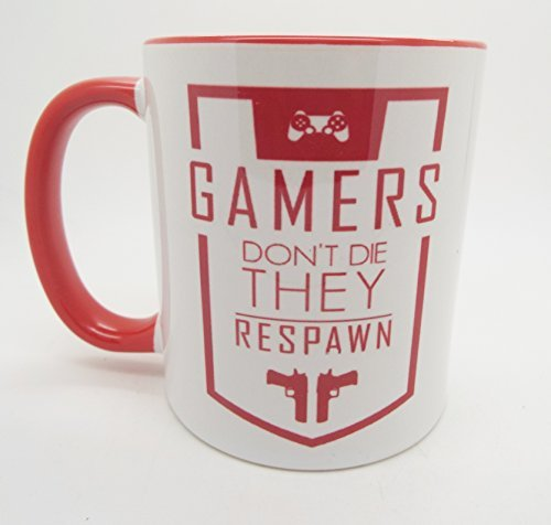 Gamers don't die they respawn funny gift gifts FPS first person shooter 11oz ceramic mug by LBS4ALL (Ceramic Shooter)