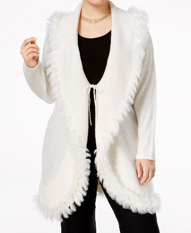 Angora Cardigan (Alfani Womens Plus Fur Trim Tie Front Cardigan Sweater White 2X)
