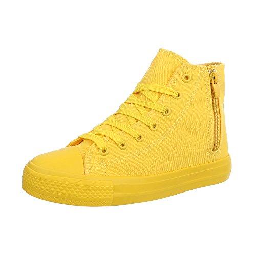 Design Gelb Freizeitschuhe 672 Schnürsenkel Damenschuhe High Ital Sneakers Rl z1Bwd6qnq