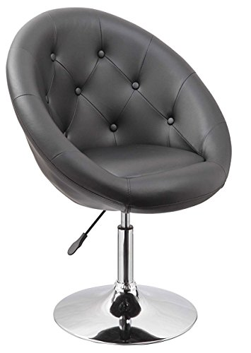 Leather Tufted Chair Accent (Duhome Jumbo Size Contemporary Synthetic Leather Accent Chair Tufted Round Back Adjustable Swivel Cocktail Stool (Black))