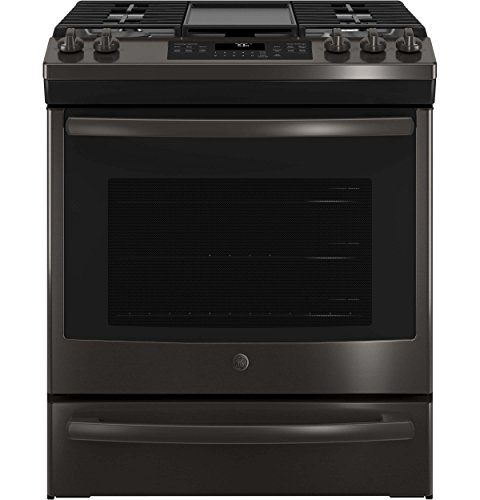 GE JGS760BELTS 30 Inch Slide-in Gas Range with Sealed Burner Cooktop in Black Stainless (Slide In Black Range)
