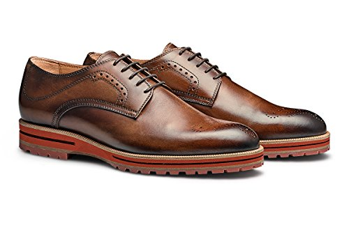 MORAL CODE Men's Leather Oxford Shoe Mayson Tan Leather 8.5 M US Men