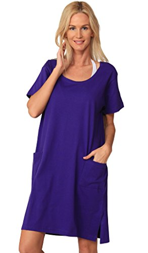 - INGEAR Cotton Dress Summer White Beach Sleeve Casual Short Cover Up Plus Size (X-Large, Solid Purple)