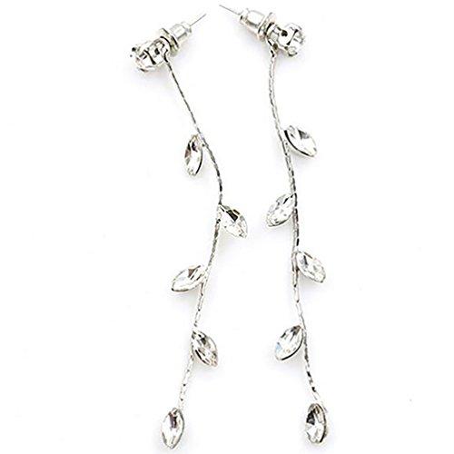 Women's Fashion Elegant Rhinestone Leaves Branch Willow Twig Linear Long Earrings - Silver Ameesi