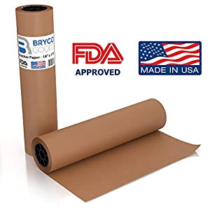 Pink Kraft Butcher Paper Roll - 18 Inch x 175 Feet (2100 Inch) - Food Grade FDA Approved – Great Smoking Wrapping Paper for Meat of all Varieties – Made in USA – Unwaxed and Uncoated by famous Bryco Goods