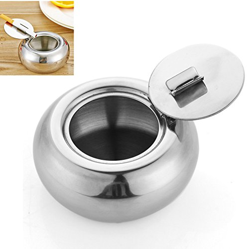 Yamde Ashtray, Stainless Steel Modern Tabletop Ashtray with Lid, Cigarette Ashtray for Indoor or Outdoor Use, Ash Holder for Smokers, Desktop Smoking Ash Tray for Home office (How To Make A Cigarette Holder)