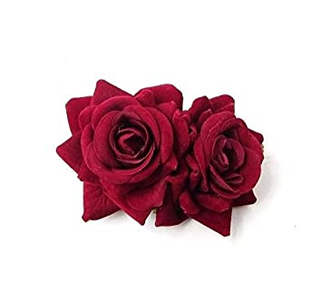 Double Burgundy Wine Red Rose Flower Hair Clip Rockabilly 1950s