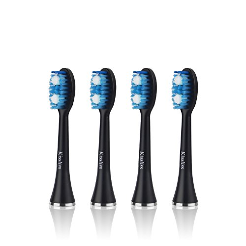 Kissliss Rechargeable Electric Toothbrush Sonic-tech 5 Bushing Functions 48,000 Vibrations Rate with 4 Replacement Brush Heads and 1 Facial Head – Black
