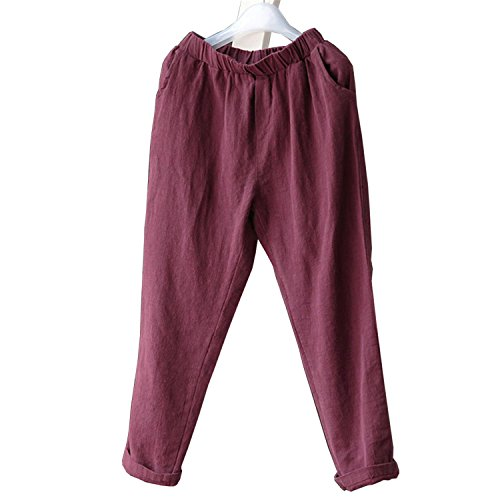 Llettier Women Men Linen Cotton Harem Pants Baggy Loose Fit Trousers Casual High Waist Lady Waistband New Plus Size 904-277 Wine red 5XL - Mall Vancouver