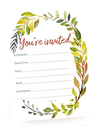 Invitation - You're Invited! | Watercolor Greenery Fill-in