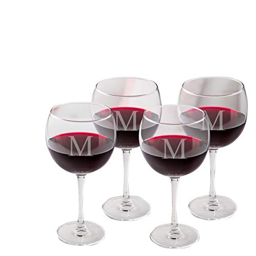 Personalized Red Wine Glasses - Monogrammed Red Wine Glass Set of 4 - Single - Red Wine Monogrammed