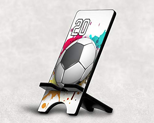 Cell Phone Stand Soccer Ball #7200 Personalized Player Jersey Number On A Universal Docking Charging Station Stand Customized by TYD Designs Number 20