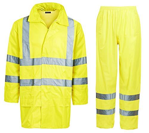 Shelikes Unisex Hi VIS Viz & Plain Rainsuit 2 Piece Set High Visibility Men Women Hooded Rain Suit Jacket & Trousers Waterproof PVC Workwear Rain Wear Size S-4XL (Yellow Hi Vis, Large)