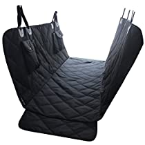 EVELTEK Car Seat Covers for Dogs, Non Slip Waterproof Pet Travel Hammock Car Seat Protector for Back Seat with Side Flaps, Pockets & Hammock Front Zipper Design for Cars Trucks and SUVs (Black)