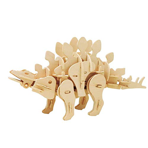 QSBY Stegosaurus Wood Remote Control Puzzle 3D Walking Jigsaw Late Jurassic Four-Legged Bone Plate Herbaceous Group Nomadic Life Life Pointed Vertebrate 75 Pieces ()