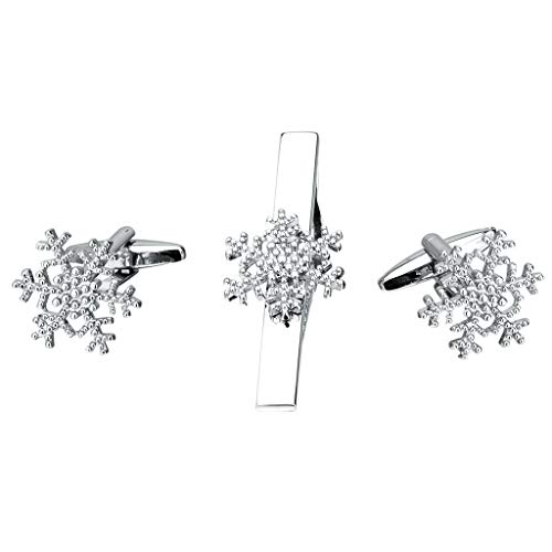 - Elegant Silver Snowflake Tie Clips and Cufflinks Jewelry Set with Gift Box