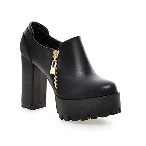 Balamasa Femmes Fermeture À Glissière Ronde-toe Imitation Cuir Pompes-chaussures Noir