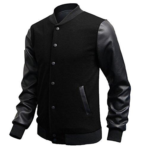 Veste Similicuir Baseball De Manches En Bomber Homme Noir Longues Jacket Wslcn Blouson HAv8wxq0