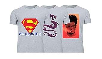 Geek ET1789 Set Of 3 T-Shirt For Men-Grey, 2 Xlarge