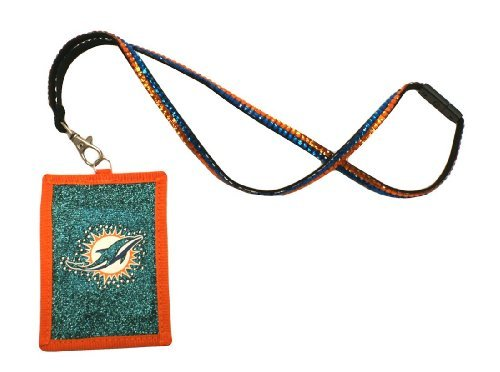 NFL Miami Dolphins Beaded Lanyard with Nylon Wallet