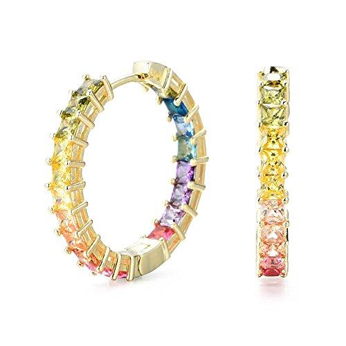 NYC Sterling Womens .925 Silver 3MM Princess Rainbow Cubic Zirconia Hoop Earrings