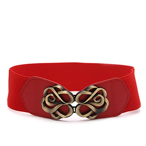 Wrisky Women Belts Luxury Brand Ladies Girls Fashion Wide Metal Buckle Stretchy Elastic (Red)
