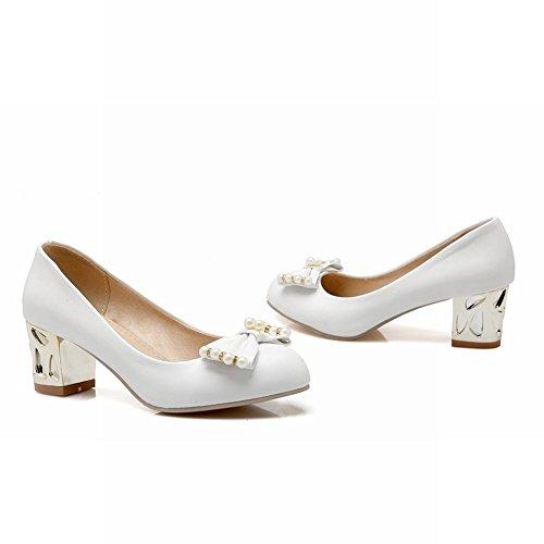 MissSaSa Damen modern Chunky heel Low-cut Schleife Pumps mit künstlich Perlen und Strass Weiß