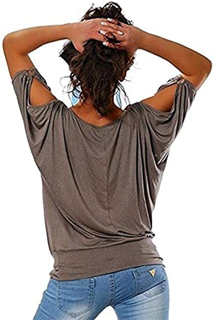 Demarkt Women Short Cotton Sleeve Tee Cold Shoulder Design Summer Tee for Daily,Party/&Vacation Black