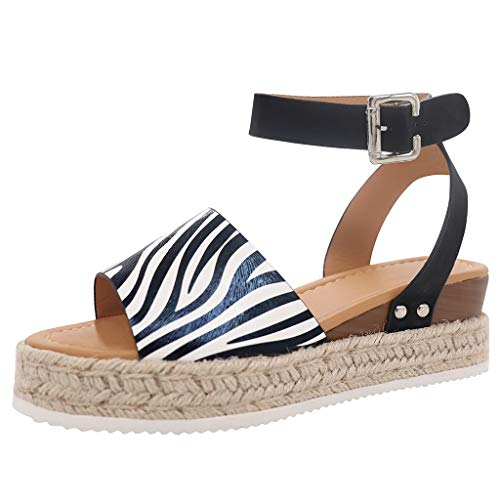 JJLIKER Women Suede Chunky Platform Wedges Sandals Ankle Buckle Strap Espadrille Shoes Summer Fashion Non-Slip ()