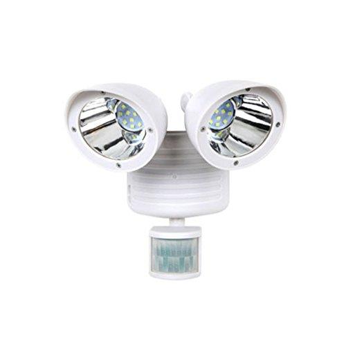 Dual Light Security Solar Motion Sensor 22 LED Lumens Outdoor Post Garden Floodlight - White