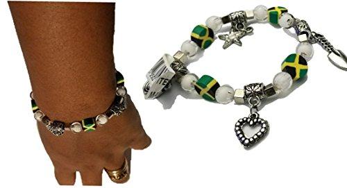 BUNFIREs Women Jamaica Jamaican Flag Beads Lucky Charm Bangle Hand Chain Pendant Diamond Ball Star Heart Bracelets (9mm Ball Chain)