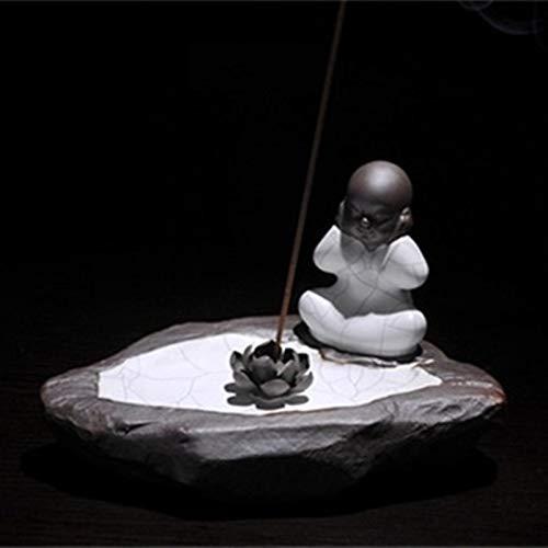 (FORLOGN FL-6009 Incense Stick Holder, Ceramic White Incense Burner, Ceramic Incense Ash Catcher Tray, Notlisten Buddha Monk and Lotus Leaves Flower Incense Holder)