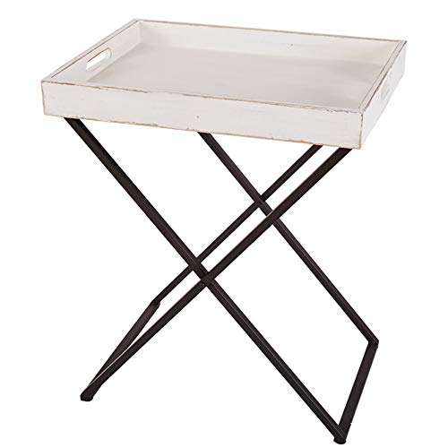 RiteSune Tray Table with Removable Antique White Wash Wooden Tray Top and Black Metal Base Tall End Table (Only Table End Base)