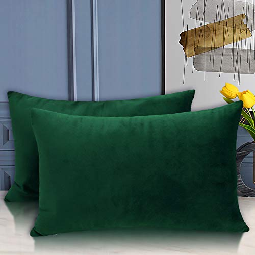 BGment Pack of 2 Soft Velvet Throw Pillow Covers, Decorative Square Cushion Cases for Sofa Car, Bedroom, Living Room, 12 x 20 Inch, Emerald