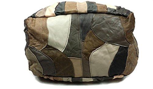 Women Patchwork Handbag Shoulder Grey Bag Vintage Soft Leather Genuine 5ZwR7