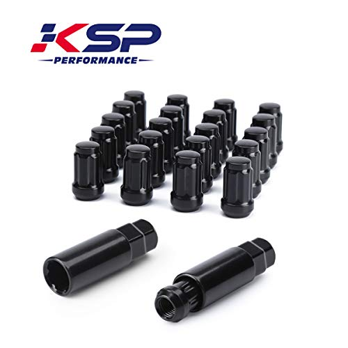 KSP M12X1.5 Acorn Lug Nuts,20PCS Black 6 Spline Closed End Bulge Acorn Wheel Nuts Conical Seat 60 Degree with 2 Socket Keys,1 Year Warranty ()