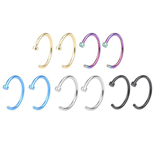 (A+ Piercing Jewelry 20G 8mm Pack of 10 Nose Studs, Assorted Stainless Steel Body Jewelry Piercing Nose Open Hoop Ring Earring Body Piercing Studs Body Slave Jewelry)
