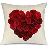 DT-CHARGER Love Pillow Covers Decorative Cotton Pillowcase 45 x 45 cm (Valentines Red Heart Pillow Covers Be Mine)